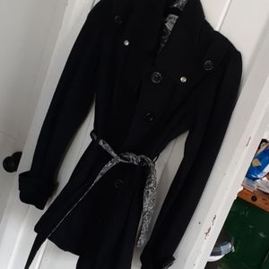 Black pea coat with belt